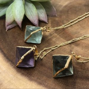 18K Gold Fluorite Crystal Pendent Necklace